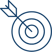 Bullseye icon depicting Strategy and Story text